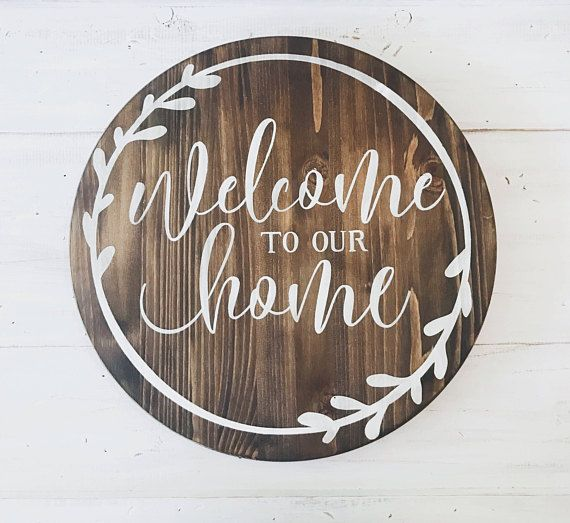 Welcome Home Wooden Sign Stained Wood Dark Walnut White Writing