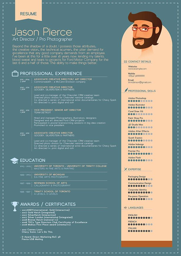 graphic design resume template indesign