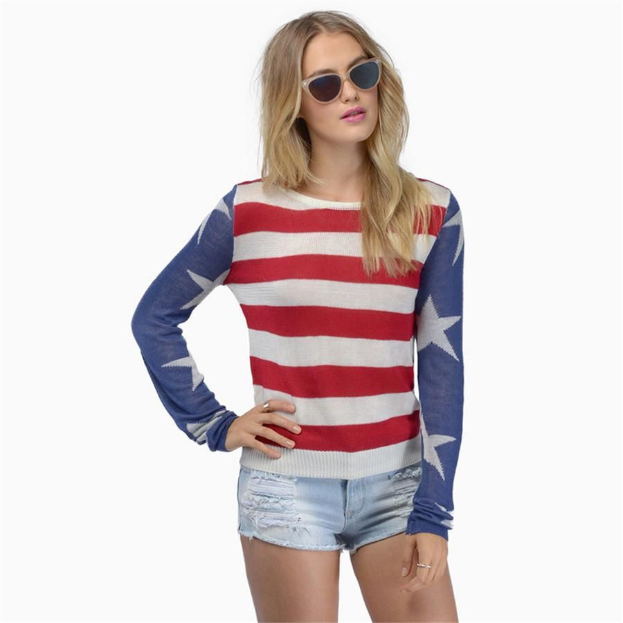 Women Sexy Striped Pullover Sweater Stars Print Classic Tops Patchwork Design Casual Warm Clothing Outwears Online with $23.09/Piece on Smartmart's Store | DHgate.com