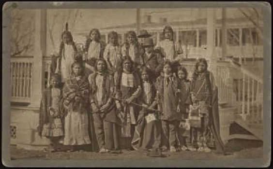 2 Eastern Shoshone children and 13 Northern Arapaho children from the Wind River Reservation in Wyoming, the day they arrived at the Carlisle Indian Industrial School in Carlisle, Pennsylvania - 1887: