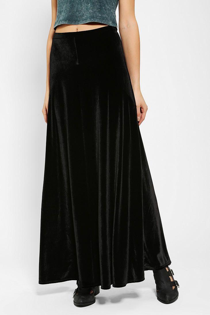 ecote half moon velvet maxi skirt to ave for