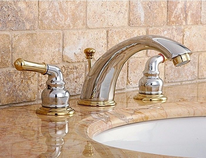Two Tone Chrome Polished Brass Widespread Bathroom Faucet Home