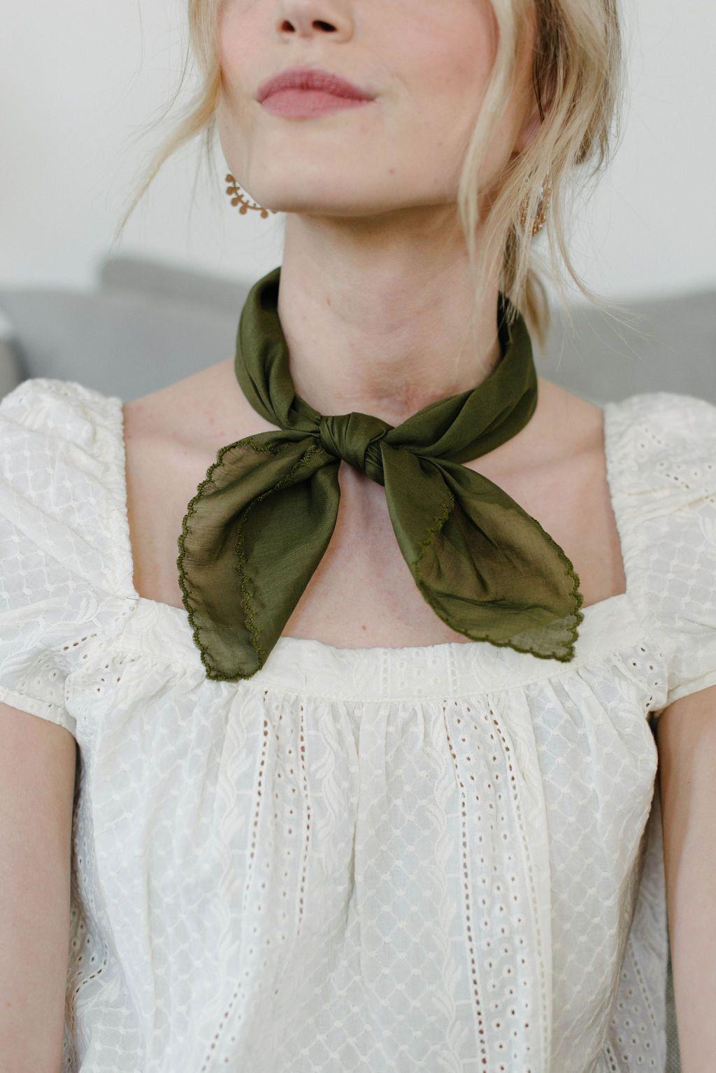 Square Neck Scarf/Cotton Bandana/Olive/Neckerchief/Hair