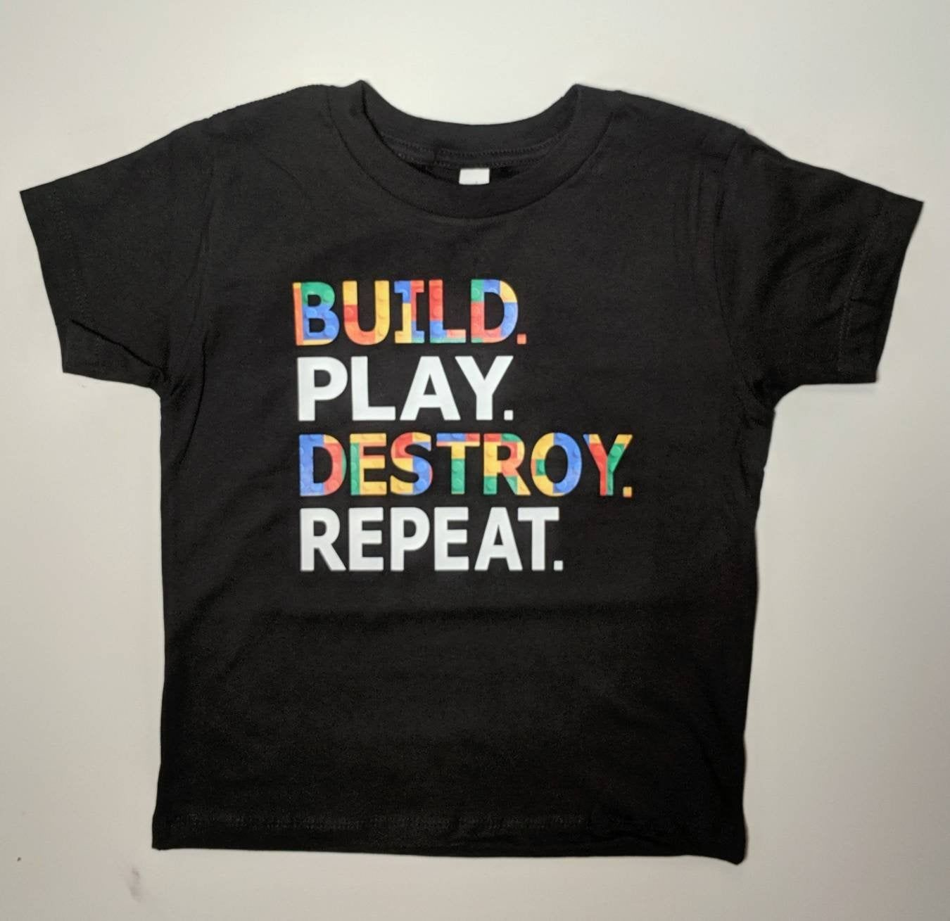 Great Birthday Shirt Block Pattern Design Build Play Destroy