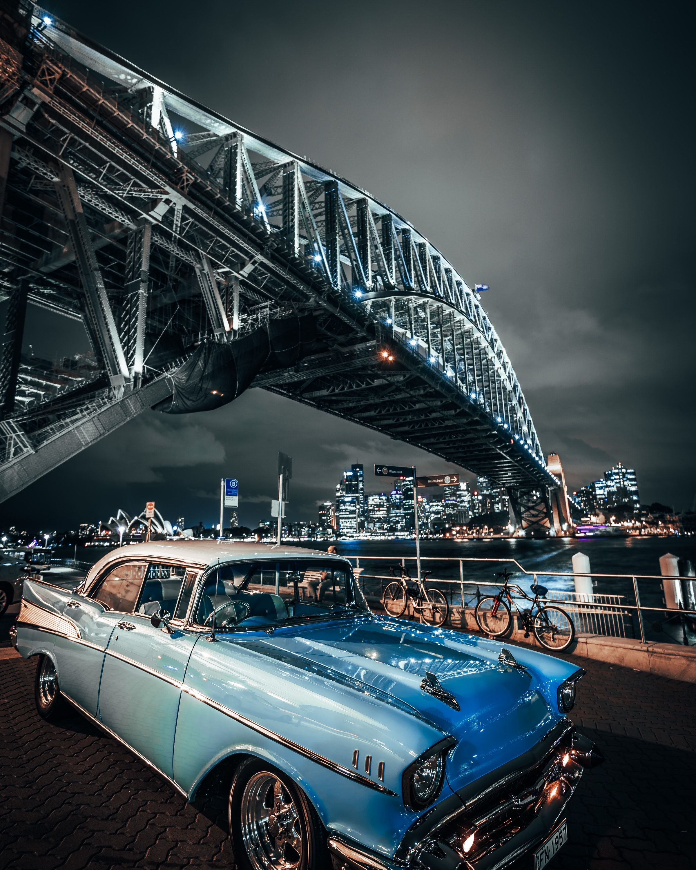 Cars Bridge Structure Architecture Dark Black Wallpapers Hd 4k Background For Android Car Wallpapers Automotive Photography Vintage Muscle