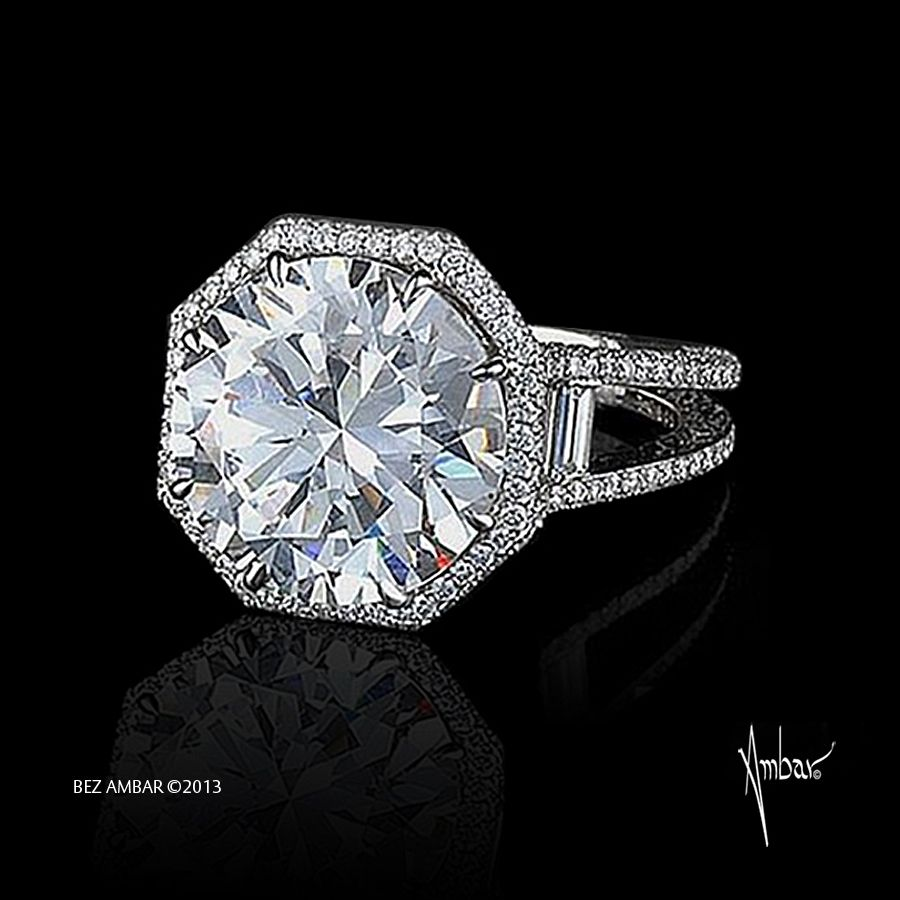diamond engagement ring with round brilliant center stone and