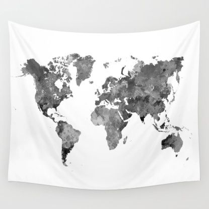 World map in watercolor gray wall tapestry room ideas pinterest world map in watercolor gray wall tapestry gumiabroncs Choice Image