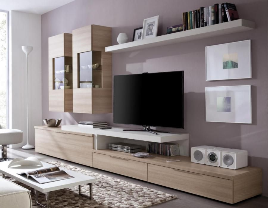 Contemporary wall storage system with tv shelf display for Modern living room shelving units