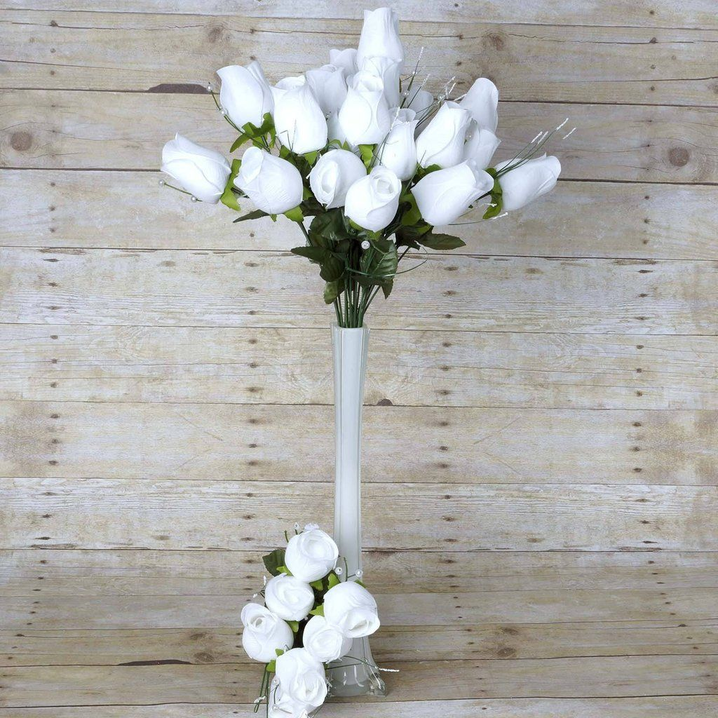42 Artificial White Giant Velvet Rose Buds Wedding Bridal Bouquet