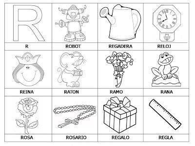 Laminas con dibujos para aprender palabras y colorear con letra: R ...