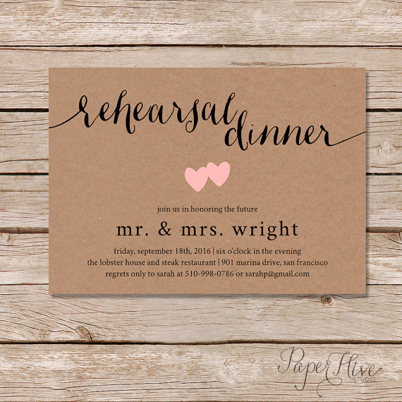 Places To Print Wedding Invitations: Rustic Rehearsal Dinner Invitation / Rustic Wedding