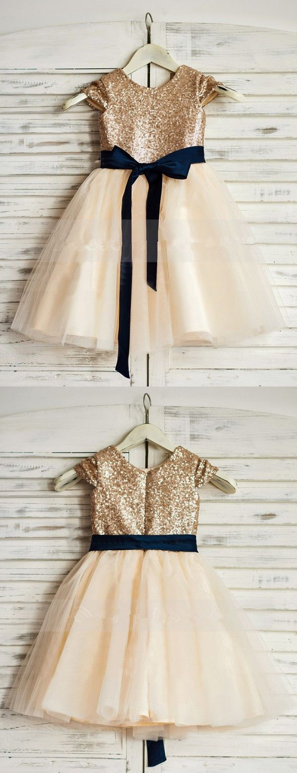 Champagne sequins long flower girl dress with navy blush sash the