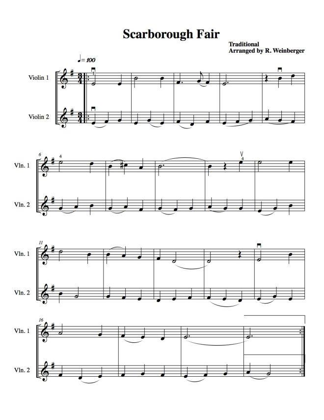 Lyric scarborough fair lyrics and sheet music : Scarborough Fair For Two Violins | Scarborough fair, Sheet music ...