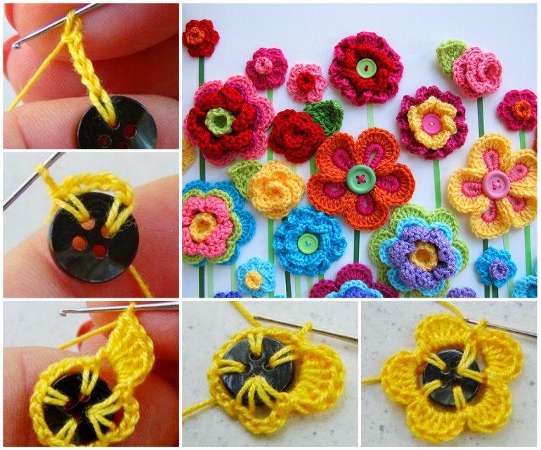 Crochet Button Flowers Video Free Pattern Lots Of Ideas | Botones de ...