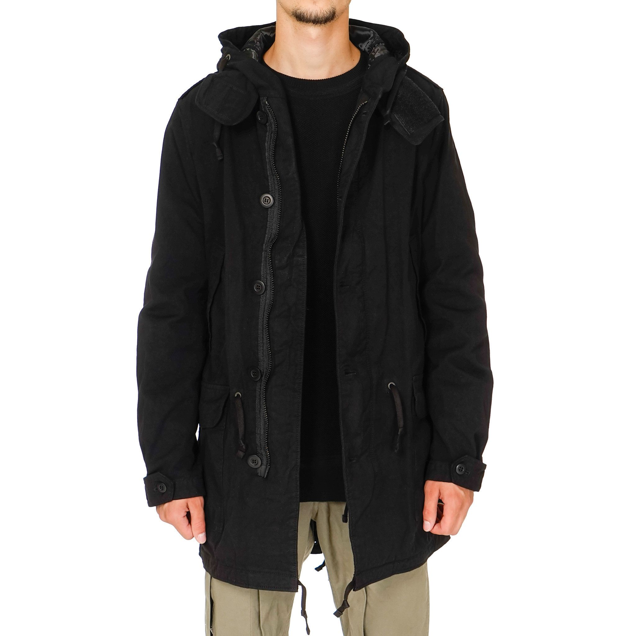 Comme des Garcons Garment Dyed Nylon Oxford Hooded Fish Tail Parka ...