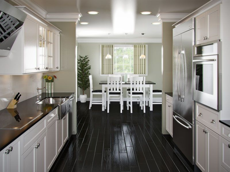 Kitchen Design Galley Layout love the dark floors and farmhouse-style sink | kitchens