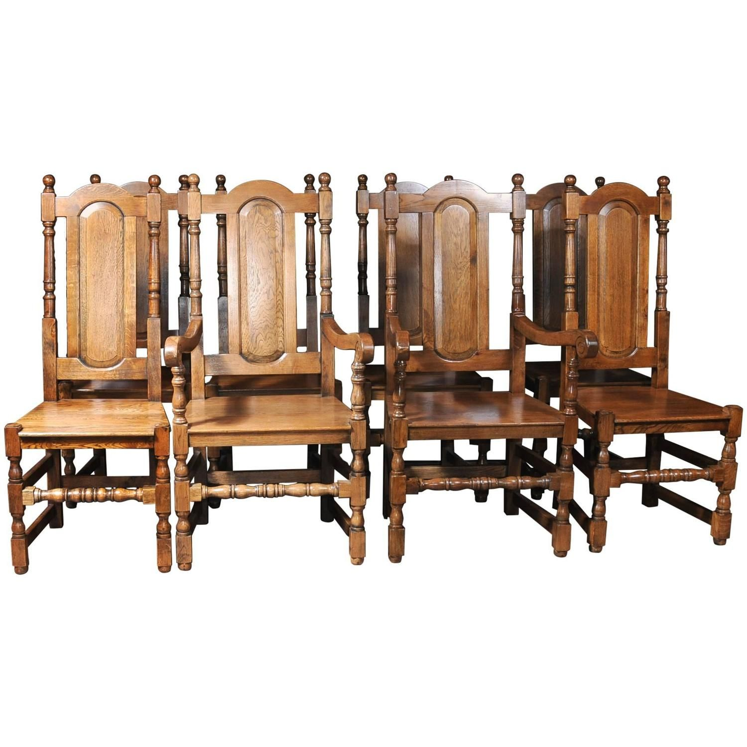 Set of Eight English Elizabethan Style Tudor Oak Dining Chairs ...