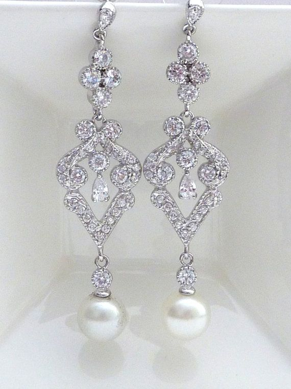 Bridal Earring  Round Ivory Pearl with White by JCBridalJewelry, $59.95