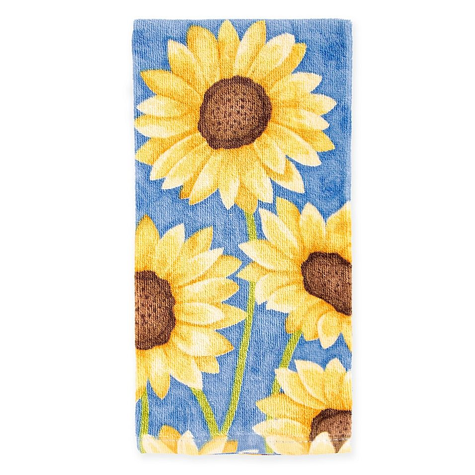 Kitchensmart Colors Painterly Sunflowers Kitchen Towel In Blue