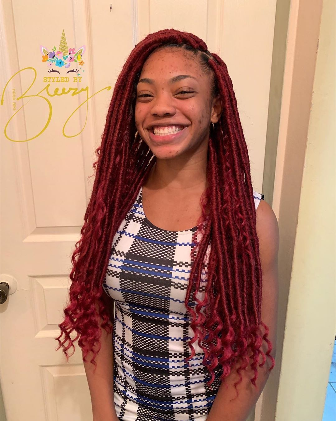Breezy On Instagram Lol That S Her Real Smile She S A Cutie Pie Fauxlocs Goddesslocs Braid Br In 2020 Goddess Locs Natural Hair Styles Cutie