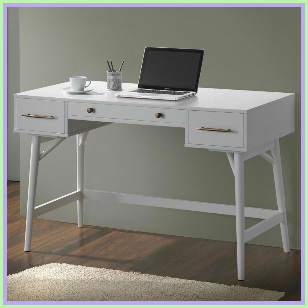 Modern White Desks Atkinson White Modern Desk In 2020 Modern Desk Modern White Desk Furniture Computer Desk