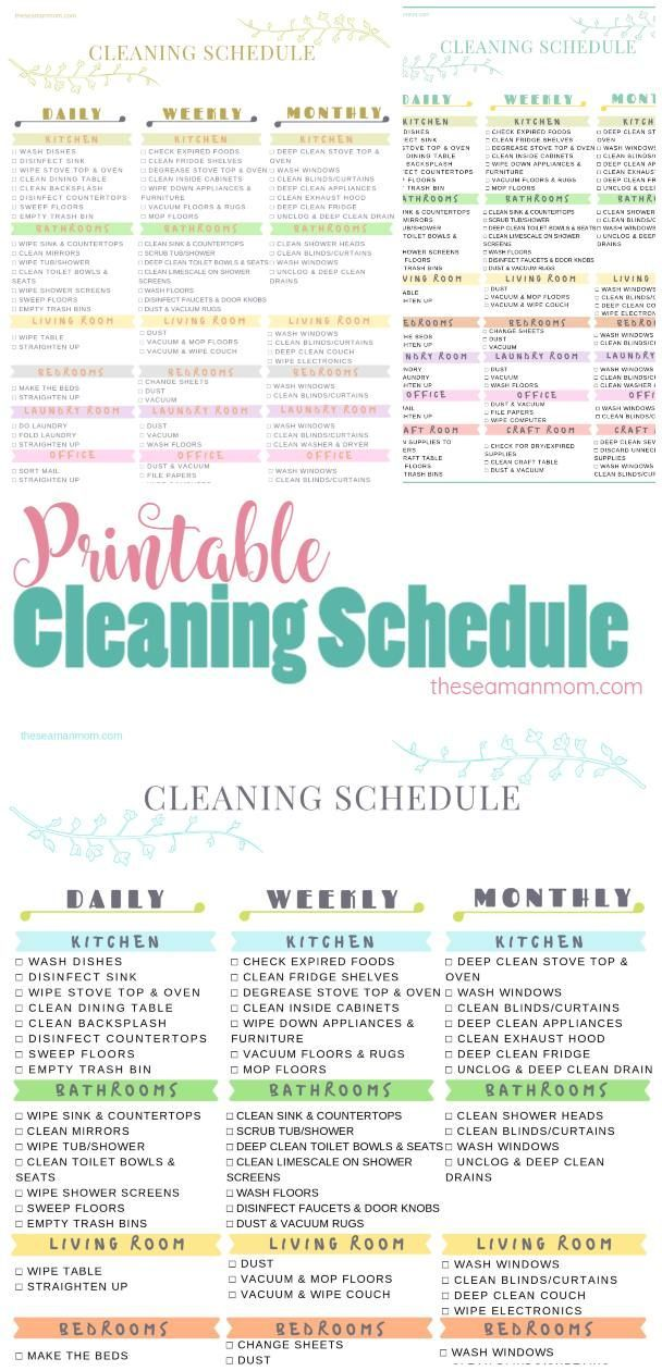 Printable Cleaning Schedule To Keep Your Home Neat & Tidy All The Time