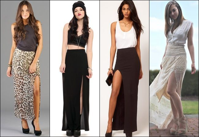 Long Black Skirt With Slits On Both Sides - Dress Ala