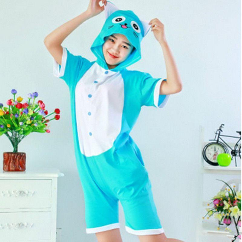 f81a99bd06 Women Girls Summer Short sleeve Adult Kiguruma Cute Cotton Fairy Tail Happy  CAT Pajamas Animal Onesie