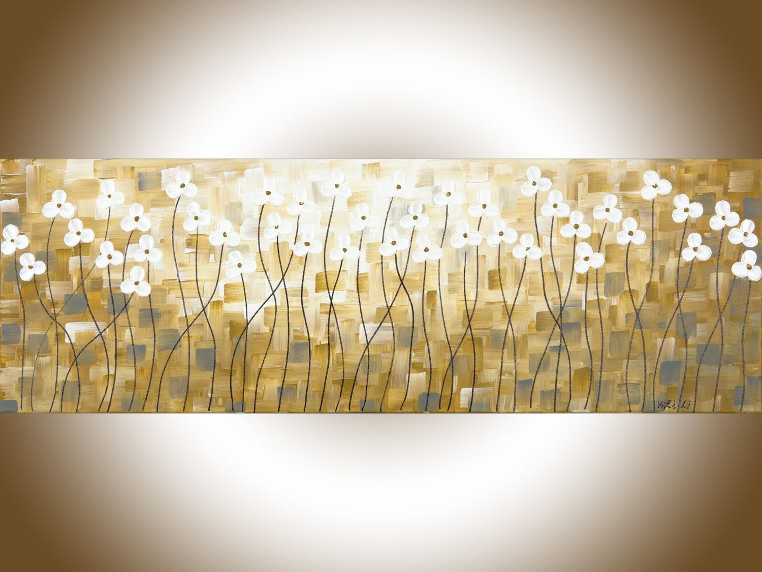 Abstract yellow painting home decor wall art narrow art grey flowers ...