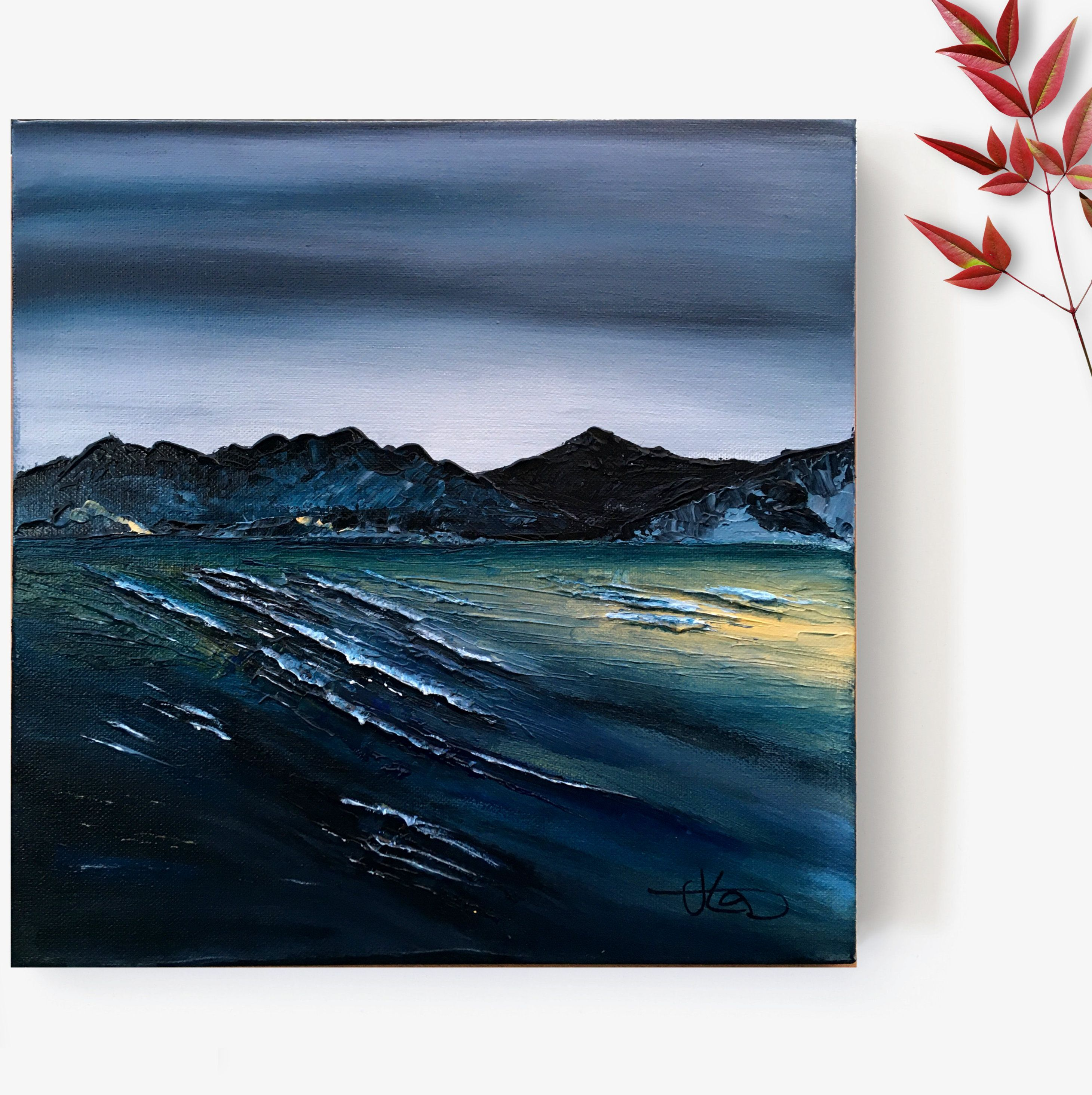 Waves Of Dawn Original Textured Acrylic Painting On Deep Box Canvas Seascape Sea Ocean Waves Atmospheric Mountains Landscape Acrylic Atmospheri Trong 2020