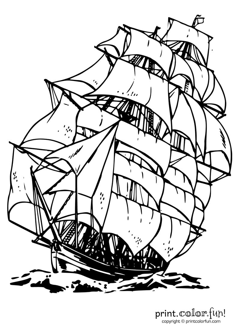 Clipper ship Print Color Fun