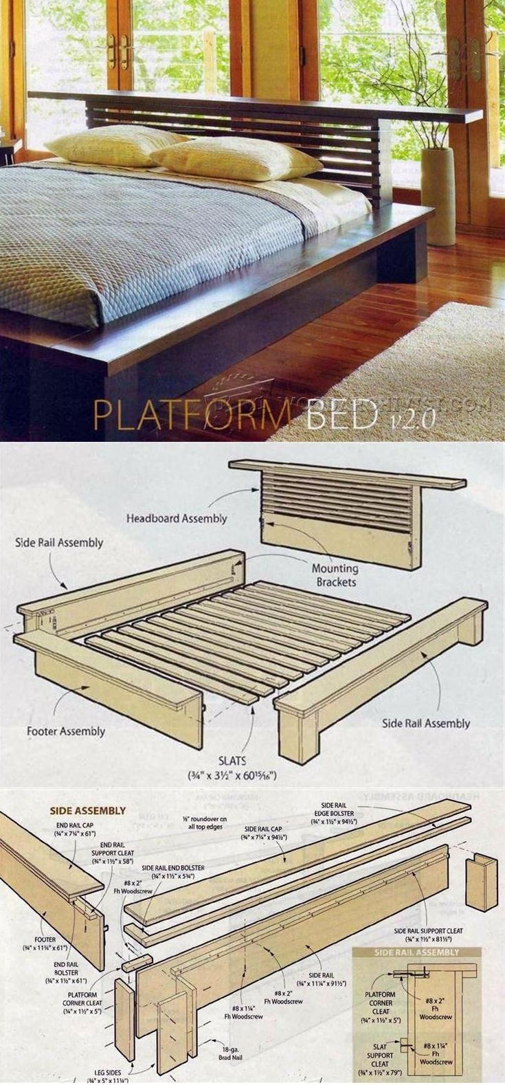 Bed frames with storage plans - Platform Bed Plans Furniture Plans And Projects Woodarchivist Com