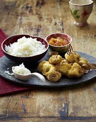 Das Rezept für Gebackene Schweinefleischspieße mit süß-saurer Soße und Basmati-Reis und weitere kostenlose Rezepte auf LECKER.de