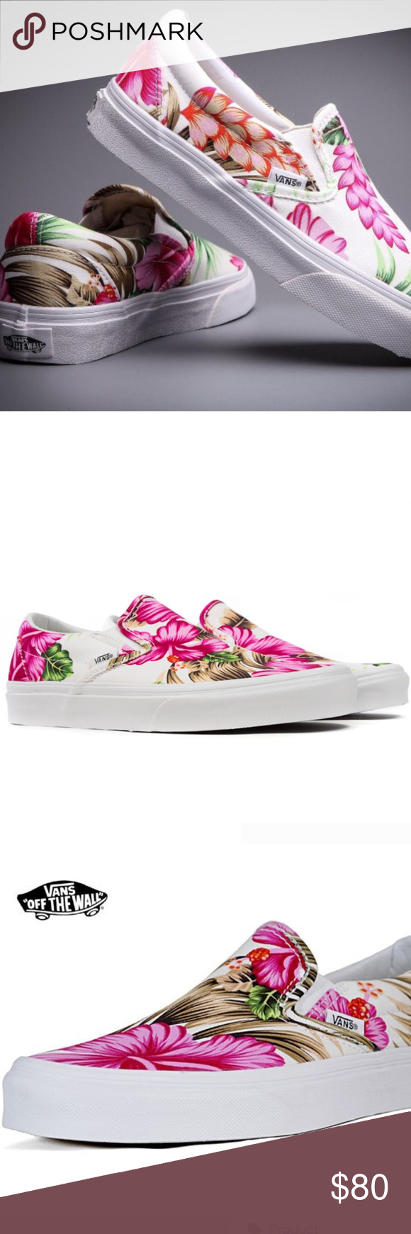 e05960c6e40d90 Vans Off The Wall Hawaiian Floral Pink tropical 🌺 Vans Off The Wall  Hawaiian Floral Pink tropical classic slip on skater shoe beach summer  Totally cute ...