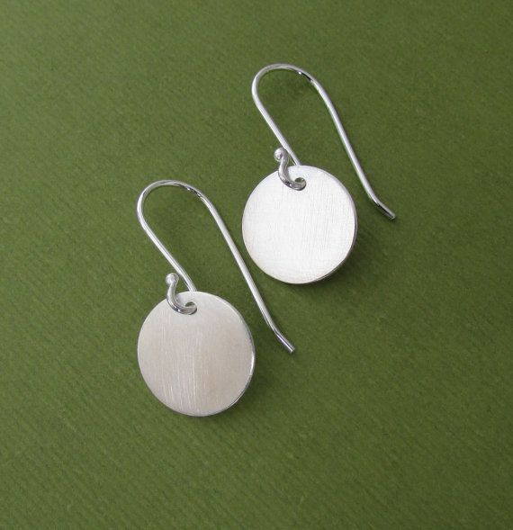 Round Sterling Silver Dangle Earrings  Round by QuietTimeJewelry, $27.40