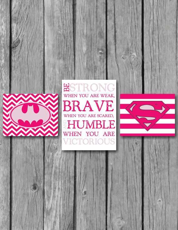 Girls Room Decor/Superhero Wall Art/Be Strong Inspirational Quote ...