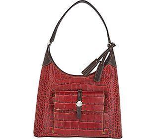 Dooney Bourke Savannah Croco Embossed Leather Hobo Handbag