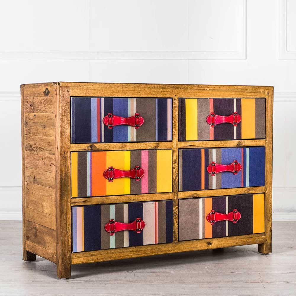 Wohnzimmermöbel holz massiv  Design Kommode in Bunt gestreift Holz massiv Jetzt bestellen unter ...