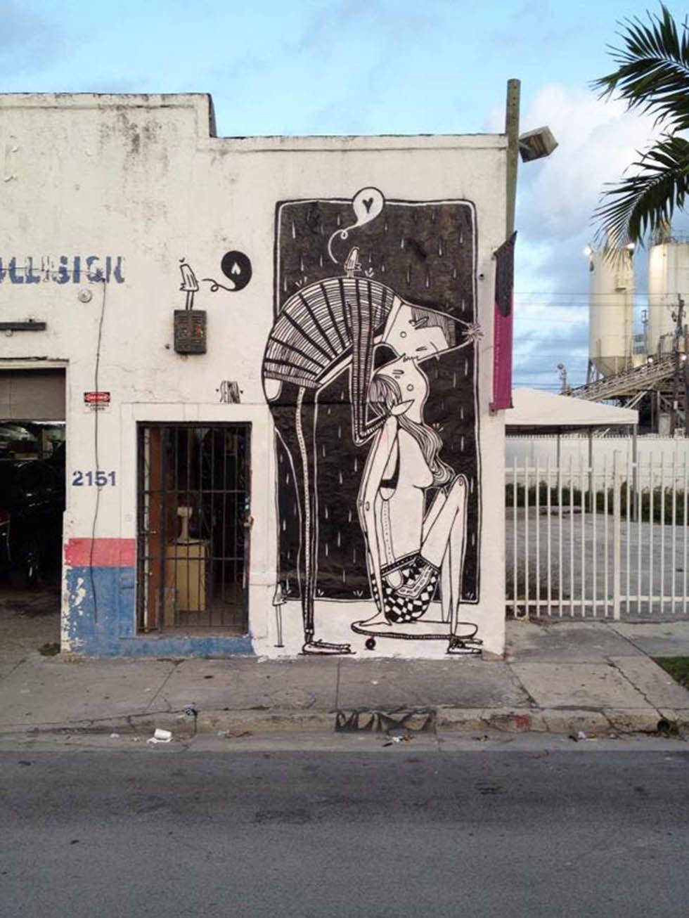 Black u white expressive street art by alex senna street art