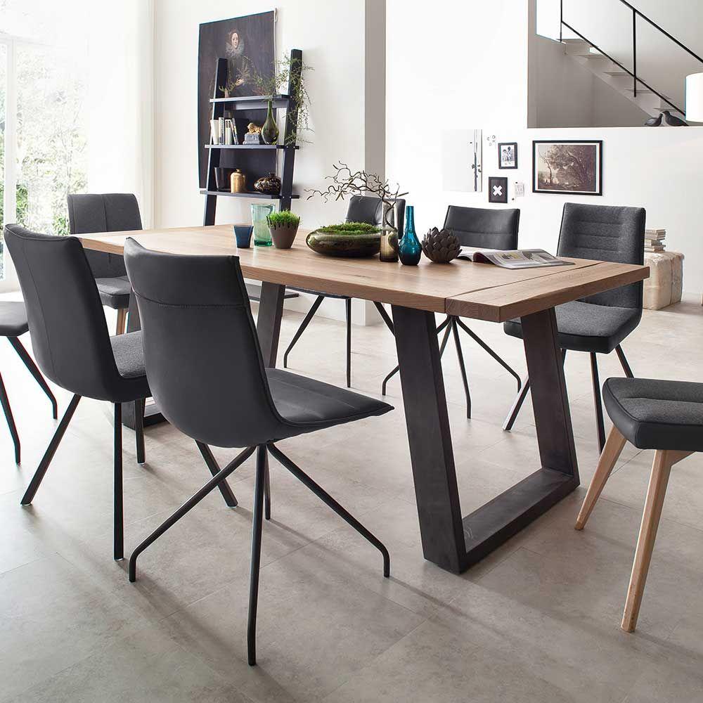 dieser esstisch mit platte aus wildeiche massivholz und einem gestell in anthrazit aus robustem. Black Bedroom Furniture Sets. Home Design Ideas