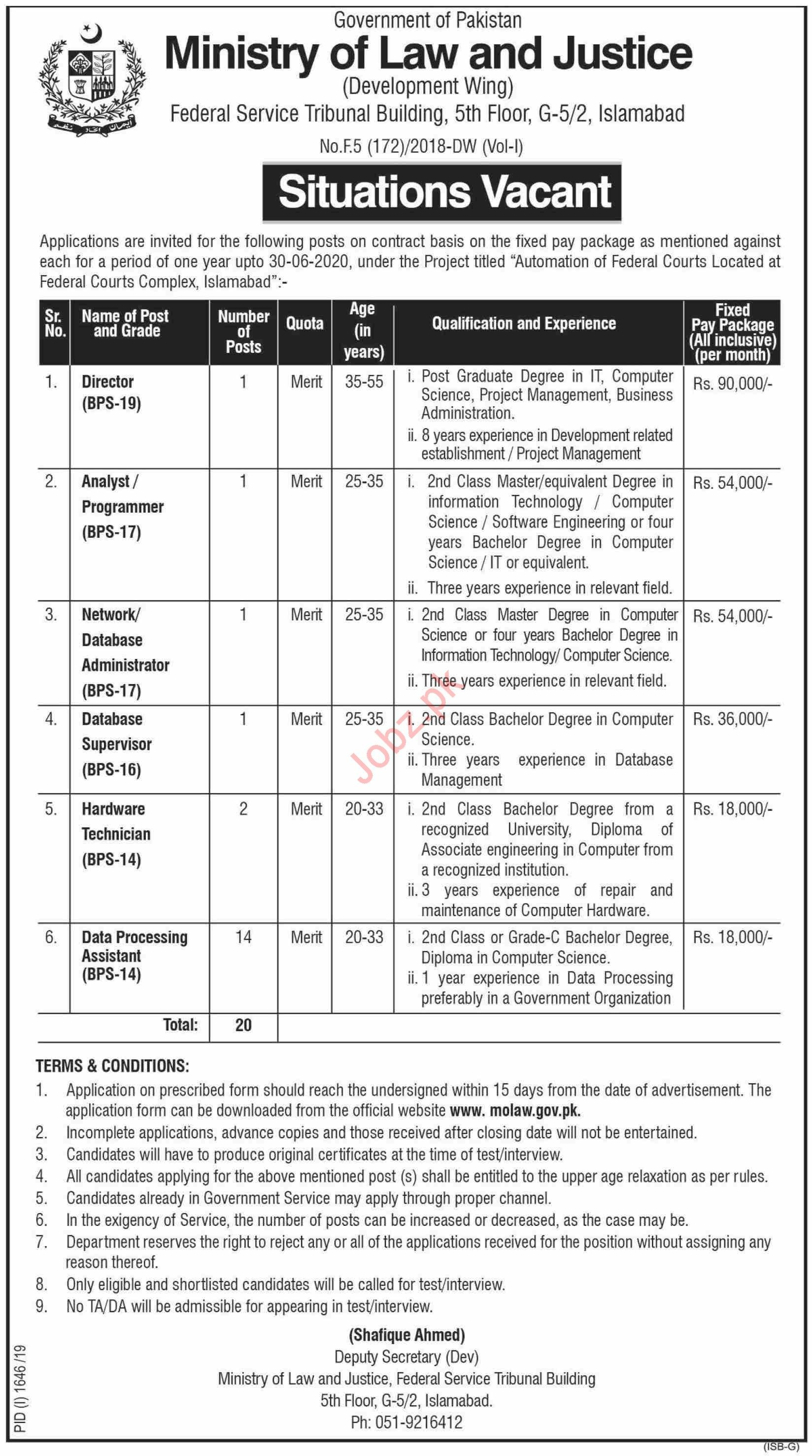 Ministry Of Law & Justice Islamabad Jobs 2019 2020 Job