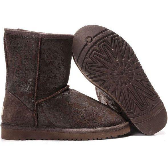 UGG Classic Short Paisley 5831 Chocolate http://uggbootshub.com/ugg-