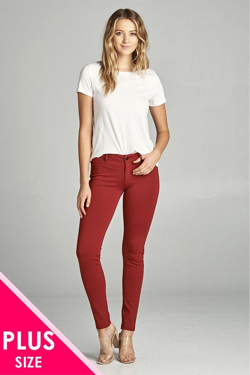 03ac72f3b5d Imported 1XL.2XL.3XL 68% Rayon 27% Nylon 5% Spandex Black ACT Ladies  fashion plus size 5-pockets shape skinny ponte pants Item Measurements  SIZE  1XL ...
