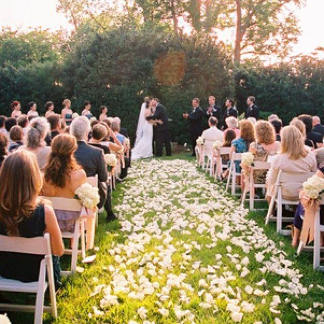 Outdoor ceremony Rose petal isle | Wedding guest list ...