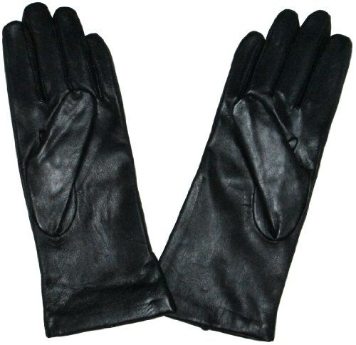 Fownes Womens Cashmere Lined Black Lambskin Leather Gloves 7/M