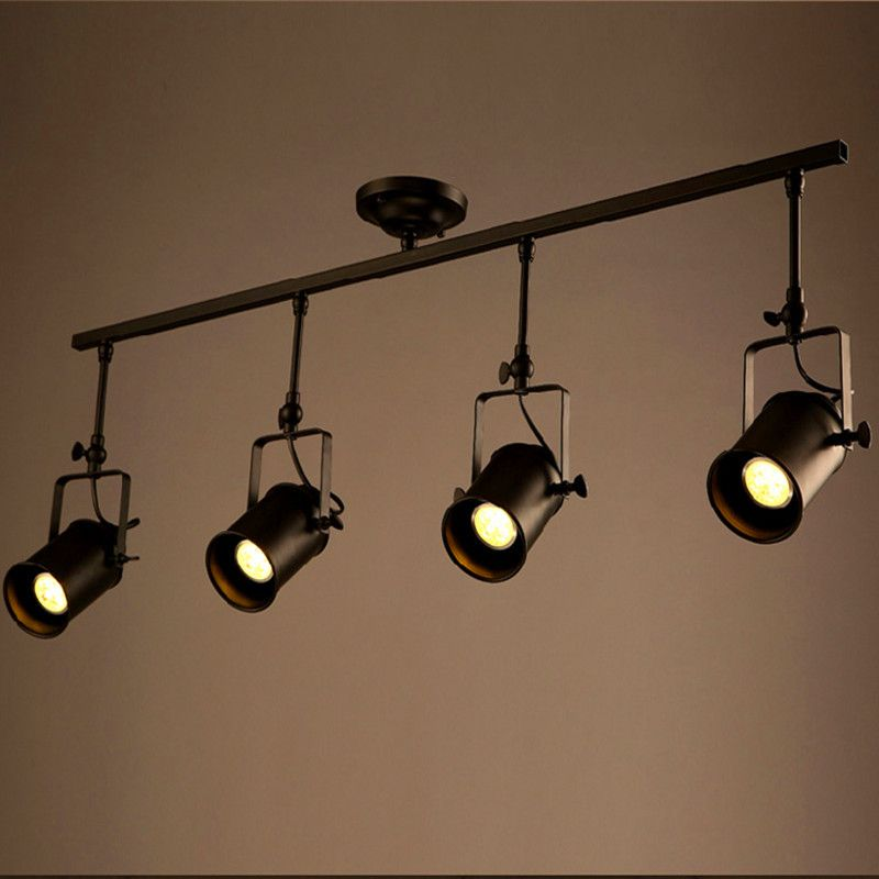 Different Types Of Track Lighting Fixtures To Install: Retro Loft Vintage LED Track Light Industrial Ceiling Lamp