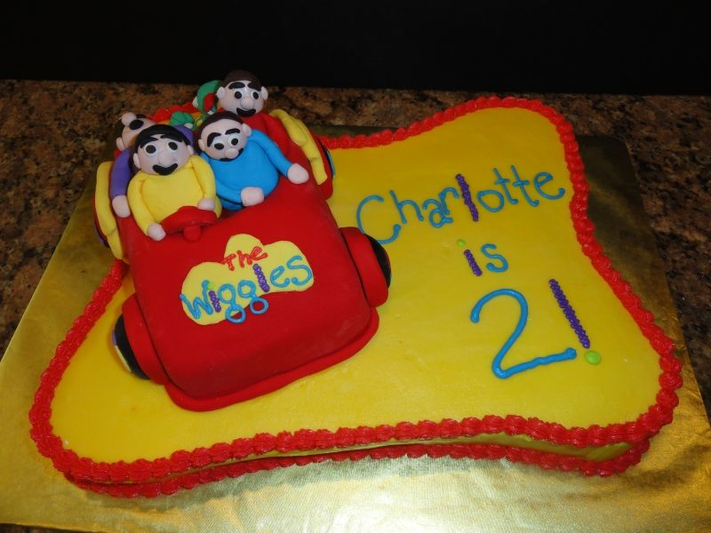 Charlotte's Wiggles Cake.. Jeff is asleep in the back!! I made the car with a loaf pan, made the Wiggles out of fondant.