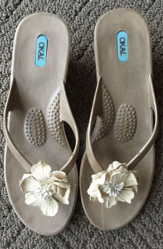 c385be123fb3a OKA B Wedge Sandals Bronze Gold Front Flower Shoe Sandals 10 11 L Large USA
