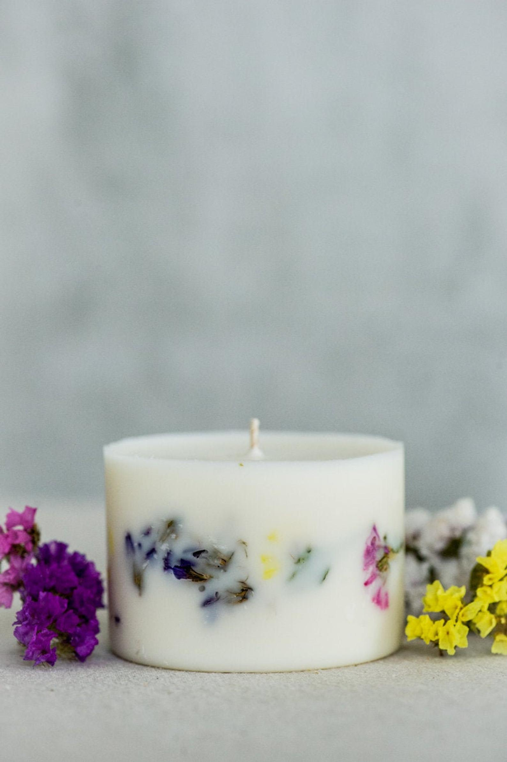 Lavender soy candle White soy pillar candle Wedding candles