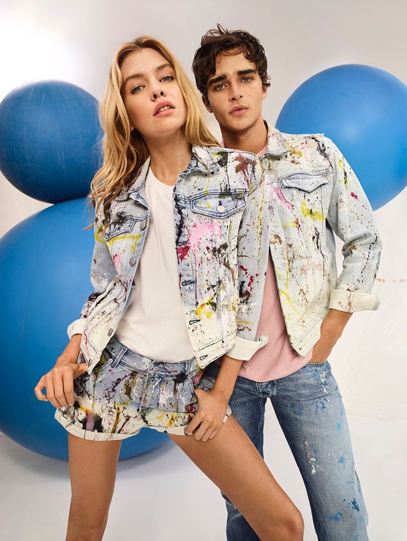 910c917144f8 Models Stella Maxwell and Pepe Barroso wear painted denim in Pepe Jeans   spring-summer 2018 campaign